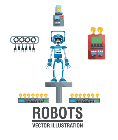industrial machinery: robots industry engineering technology poster vector illustration eps 10 Illustration