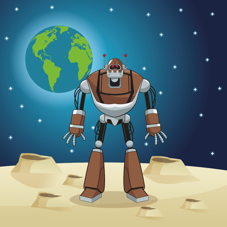 augmentation: robot automation space earth vector illustration eps 10 Illustration