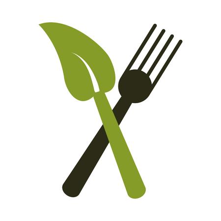 fork leave healthy food symbol vector illustration eps 10 Illustration