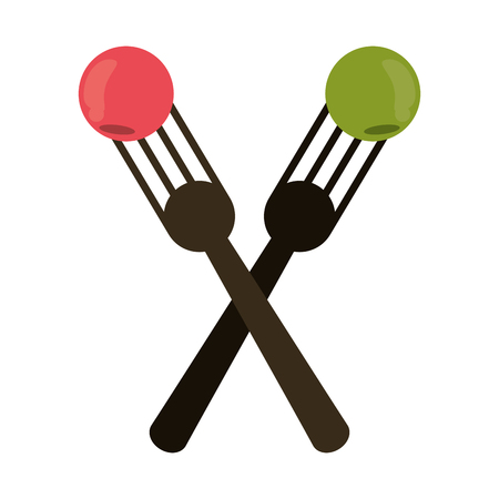 crossed fork with fruit tasty vector illustration eps 10