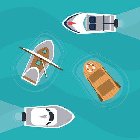 boat ship sea ocen transportation icon. Colorful and flat design. Blue background. Vector illustration