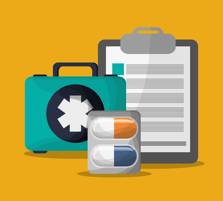medicine medical kit health care hospital icon. Colorful design. Vector illustration
