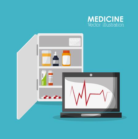 laptop medicine medical health care hospital icon. Colorful design. Vector illustration