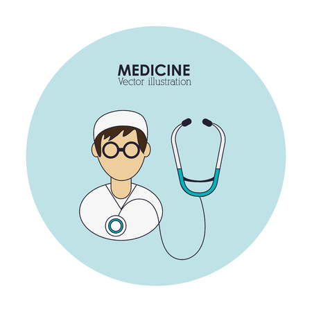 doctor man stethoscope medical health care hospital icon. Colorful design. Vector illustration