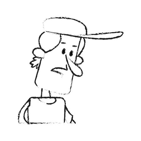 worried executive: man with baseball hat cartoon icon image vector illustration design