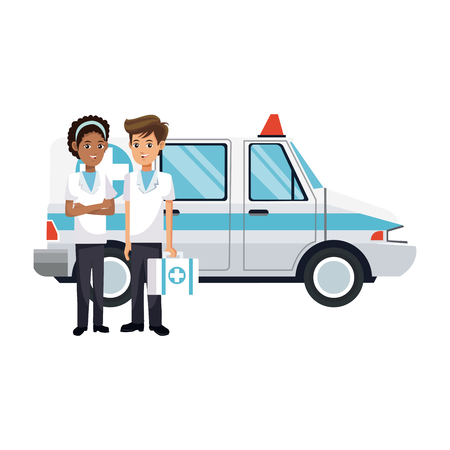 ambulance vehicle icon over white background. colorful design. vector illustration