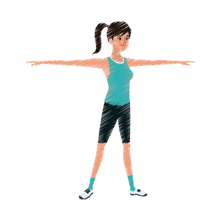 pretty young woman with stretched arms sport icon image vector illustration design  sketch style