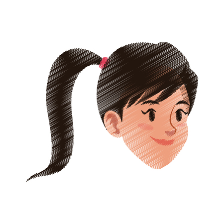 young pretty woman with ponytail icon image vector illustration design  sketch style