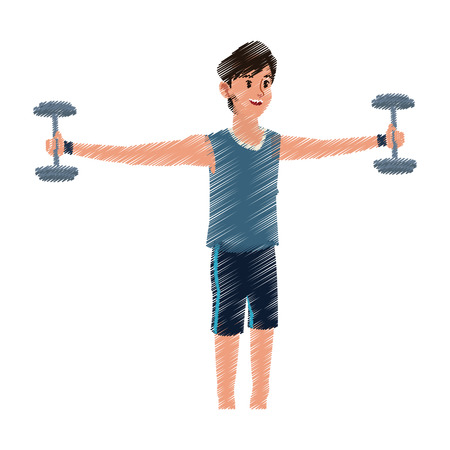 signo pesos: young man lifting weights sport icon image vector illustration design  sketch style Vectores