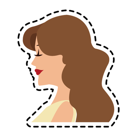beautiful young woman with brown hair and sleeveless icon image vector illustration design