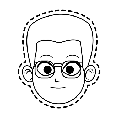 handsome men: face of young wearing glasses man icon image vector illustration design