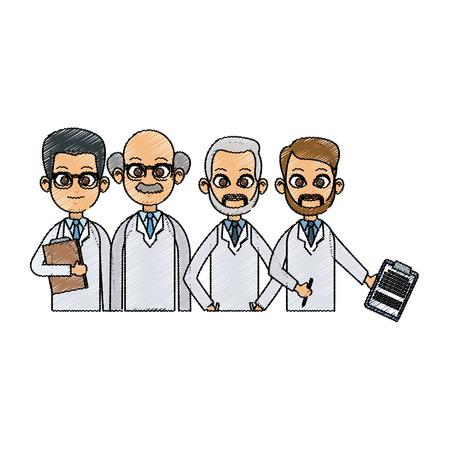 medical professional people over white background. colorful design. vector illustration Illustration