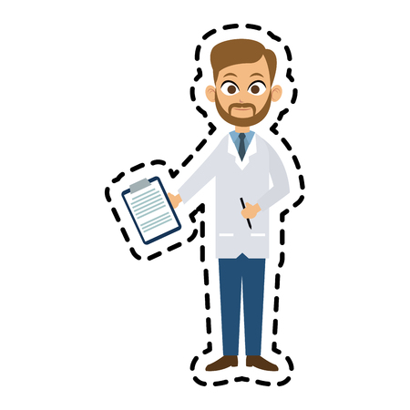 handsome bearded male doctor icon image vector illustration design