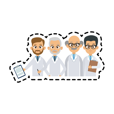 group of male doctors icon image vector illustration design Illustration