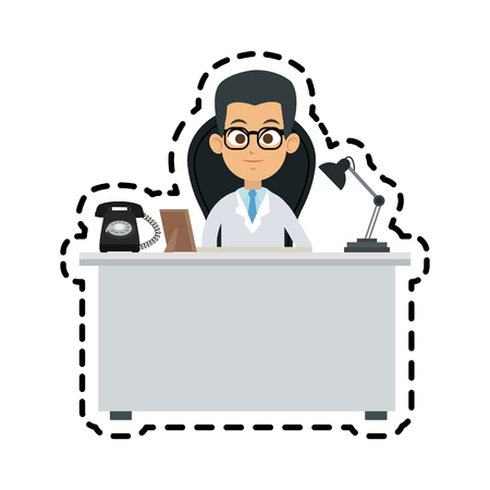young male doctor and desk  icon image vector illustration design