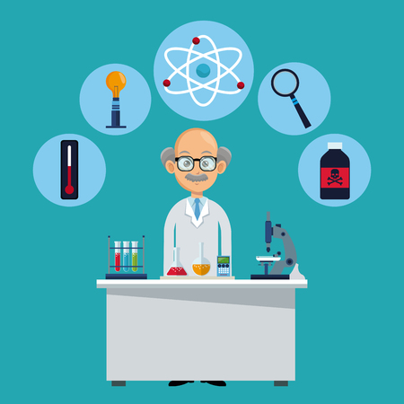 smart: doctor medical workspace laboratory vector illustration