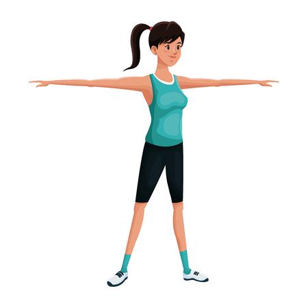 happy woman: Woman sports training exercise vector illustration eps 10 Illustration