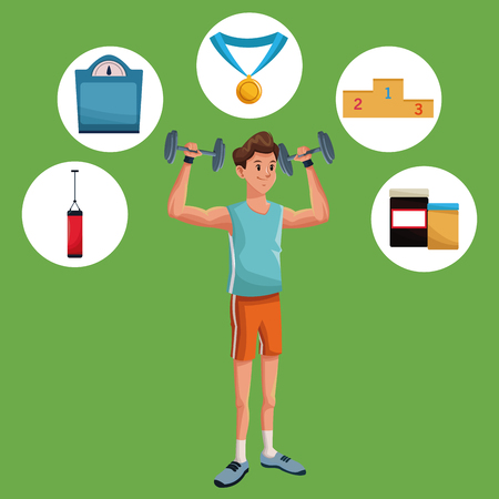 Man sports weight training gym items vector illustration eps 10