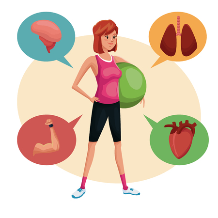 fitball: Woman sports training fitball lifestyle vector illustration eps 10 Illustration