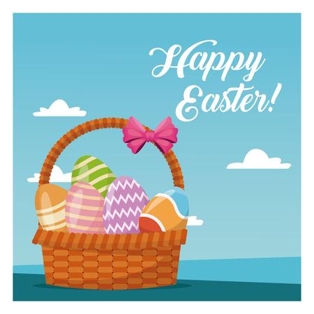 sun: Basket egg easter celebration blue sky vector illustration eps 10