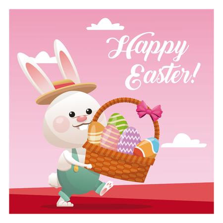 nest egg: Happy easter bunny basket egg pink background vector illustration