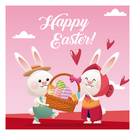 Happy easter couple bunny basket egg pink background vector illustration
