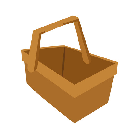 simple store: Basket of picnic icon. Animal cute adorable and creature theme. Isolated design. Vector illustration