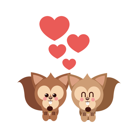 Squirrel cartoon in love icon. Animal cute adorable and creature theme. Isolated design. Vector illustration Illustration