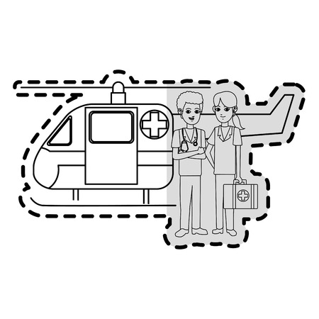 paramedics and ambulance helicopter icon image vector illustration design