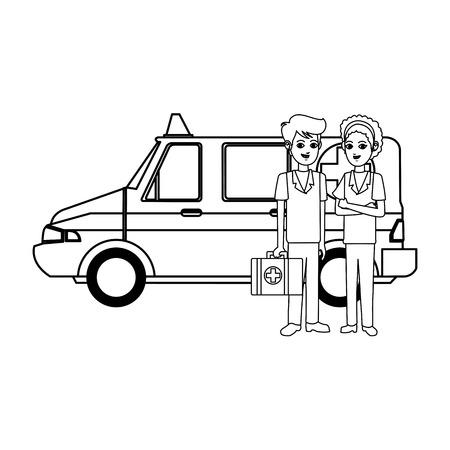 reanimation: paramedics and ambulance icon image vector illustration design