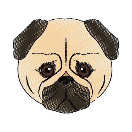 cute dog: pug dog house pet icon image vector illustration design