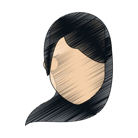 faceless woman with long black hair icon image vector illustration design