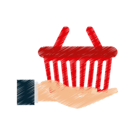 hand holding shopping basket icon image vector illustration design