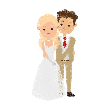 brunette groom and blonde bride icon image cute cartoon vector illustration design