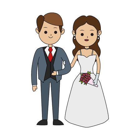 신랑과 신부 아이콘 이미지 귀여운 만화 벡터 일러스트 디자인