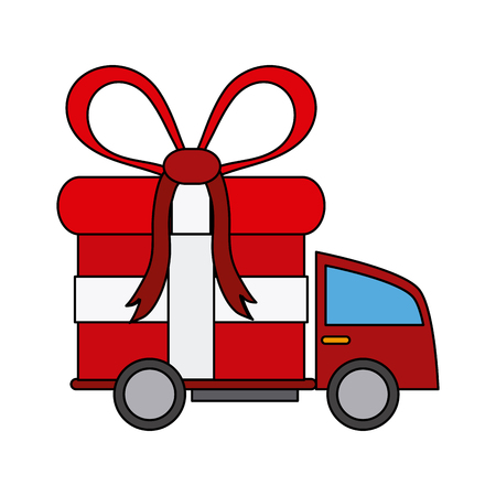 delivery truck and gift box icon image vector illustration design