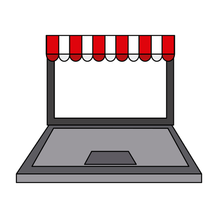 e commerce icon: Computer with online shopping or e-commerce icon. Illustration