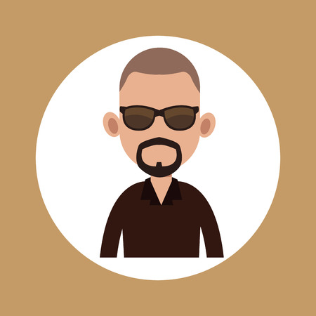 Character man bearded with sunglasses Illustration