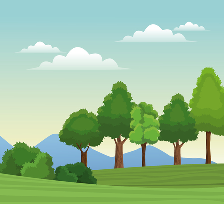 national park: Tree forest natural sky meadow mountain vector illustration eps 10