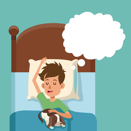 Boy sleep dream with dog in bed vector illustration eps 10 Illustration