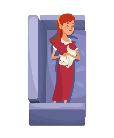 woman lying in bed: character woman sleep resting sofa with her cat vector illustration eps 10