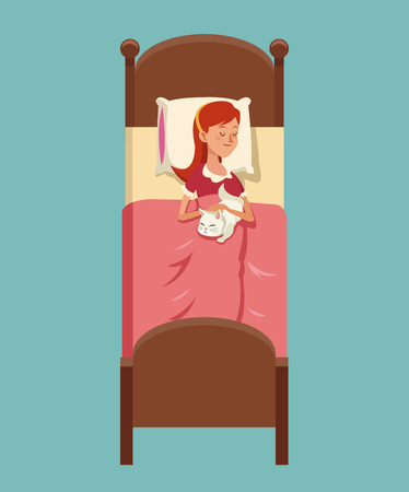 Girl sleeps with her kitty in bed with red pyjama vector illustration eps 10