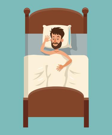 Bande dessinée homme barbe sommeil couvert couverture dans son lit vector illustration eps 10 Banque d'images - 76705409