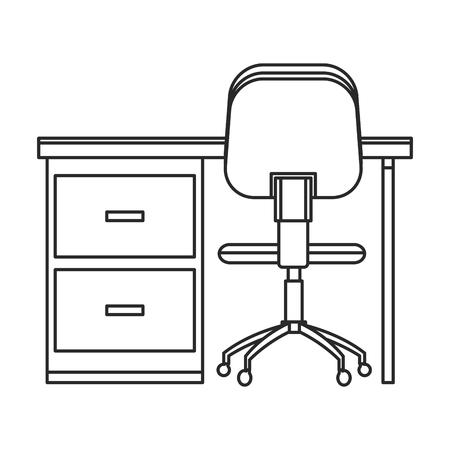 office furniture: Desk and chair office work outline vector illustration Illustration