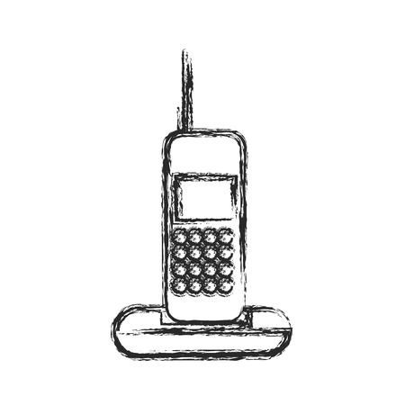 Cordless phone communication device sketch vector illustration