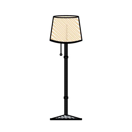 living room wall: post lamp room decoration vector illustration