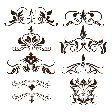Set of black decorative curly elements and ornaments.