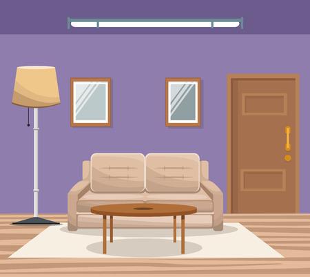 luxury living room: Room home interior sofa mirror floor lamp door entrance vector illustration Illustration