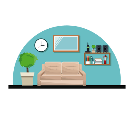 Living room sofa pot tree clock cabinet book telephone stereo vector illustration Illustration