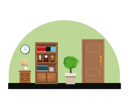 luxury living room: Room bookshelf trophy clock small table lamp pot tree door vector illustration Illustration